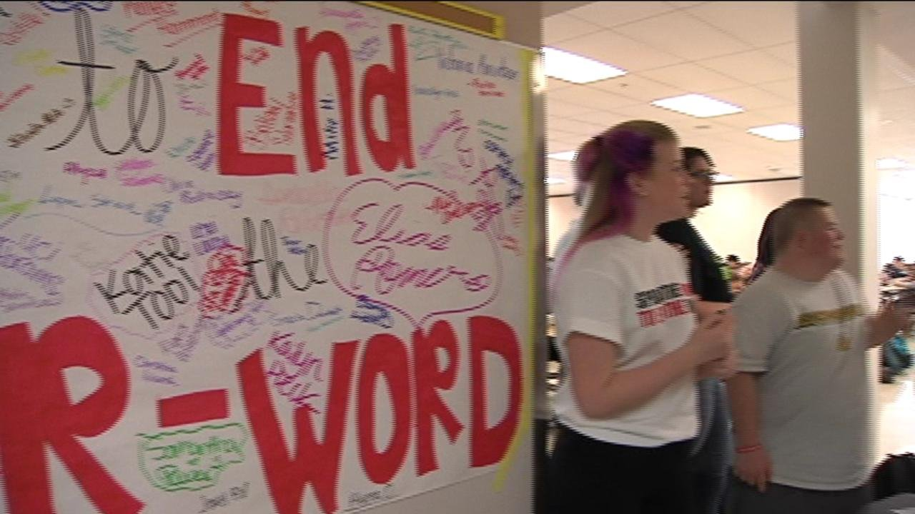 """High school students around the area are taking a pledge to end use a word that can be offensive. Students at Richland High School are signing a pledge to end the """"R-word"""" to show respect for their peers with developmental disabilities."""