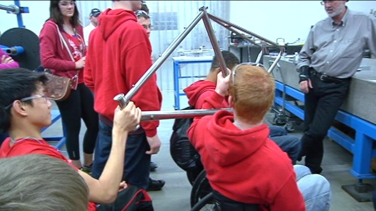 The athletes saw a first-hand look at how their wheelchairs are put together.