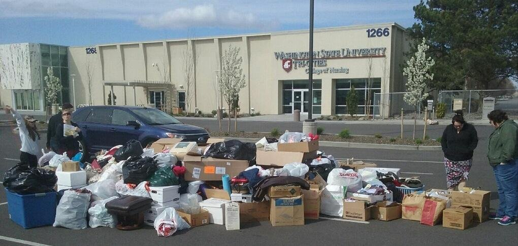After the donations, it took three trucks, two SUVs, and the Union Mission Van to haul off the items.