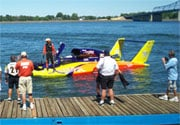 Brian Perkins returns to the pits after qualifying as an Unlimited Hydroplane driver in the U-21 Freedom Racing team's new boat in Tri-Cities (PHOTO - Paul Dughi)