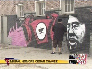 Mural honors activist cesar chavez nbc right now kndo for Cesar chavez mural