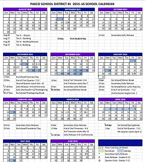 Updated Pasco School Calendar 2015 16   NBC Right Now/KNDO/KNDU