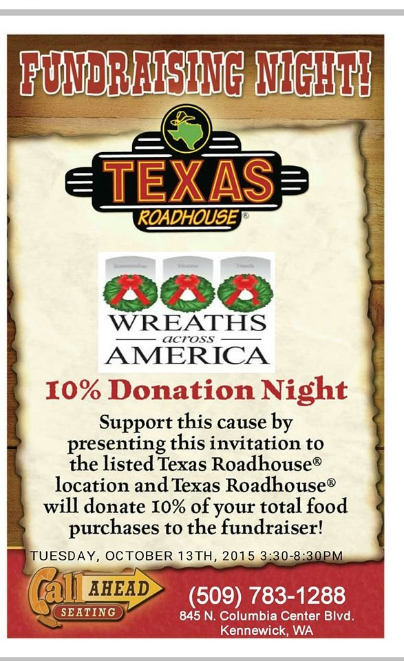 Print out this flier and present it at Texas Roadhouse to support Wreaths Across America