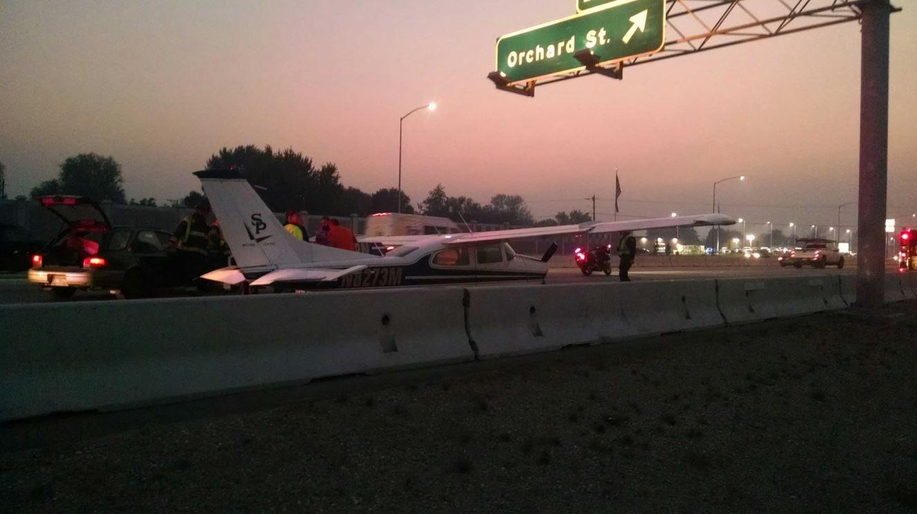 Plane lands on Interstate 84 in Boise