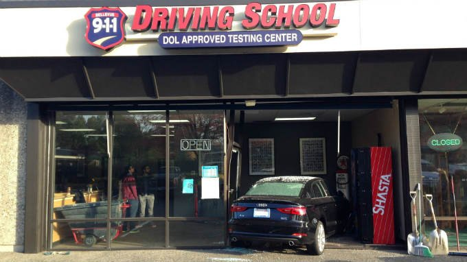Bellevue woman drives through front window of driving school during test