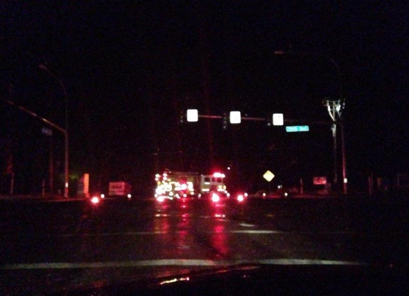 Some of the street lights in that area are still out as of 10:45 p.m.