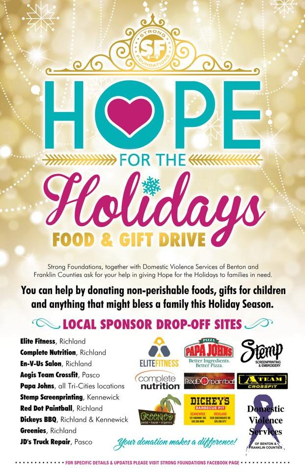 Strong Foundations is holding a gift and food drive.