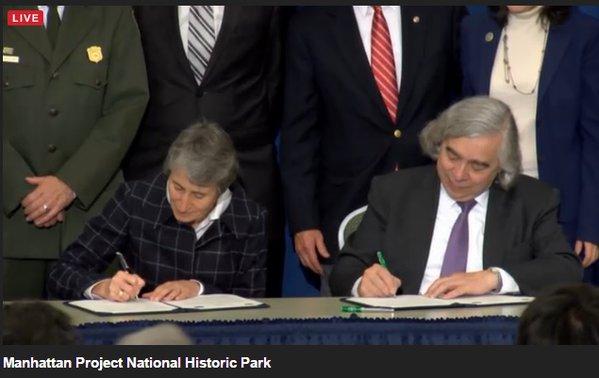 Energy Secretary and Interior Secretary signing of  Manhattan Project National Park Credit: ABPP Twitter