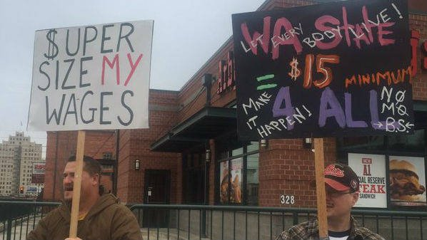 Workers march for $15/hr wages in Washington State