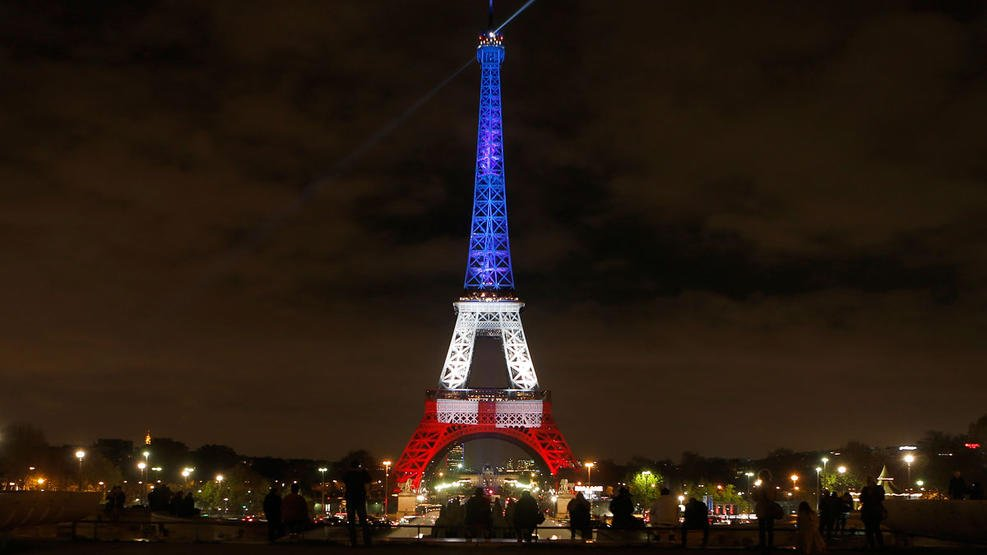 Cities light up around the world after Paris attacks.