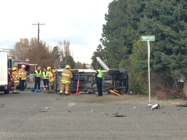This is the scene at an accident Friday at the intersection.