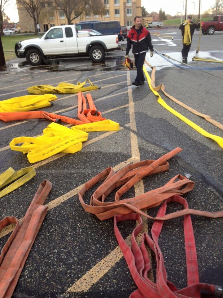 Richland firefighters test fire hose.