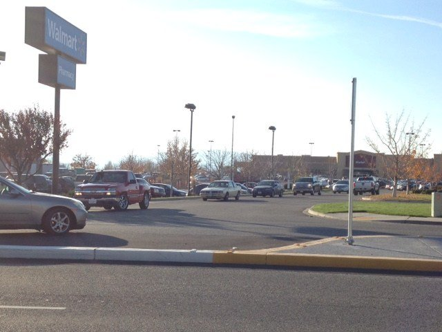 The man fell in the Wal-Mart parking lot.