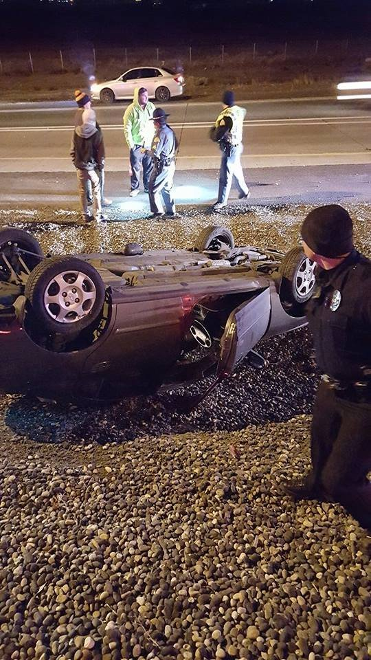 The woman inside the car was okay.