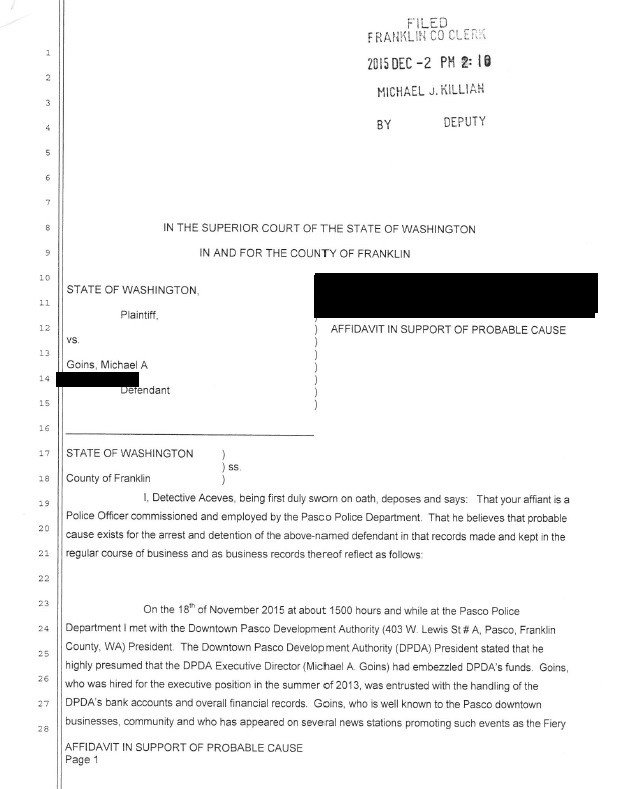 Probable Cause Affidavit