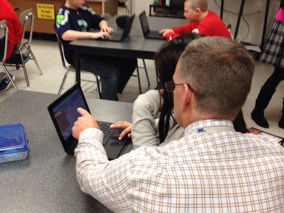 Hour of Code being taught.