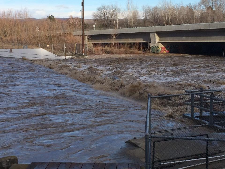 Naches River flooding near US 12