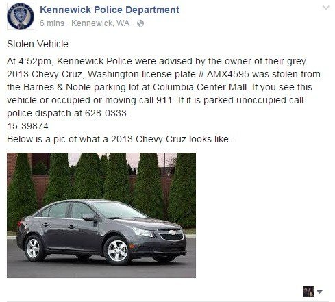 If you find it parked and unoccupied, please call KPD's non-emergency phone number at 509-628-0333.