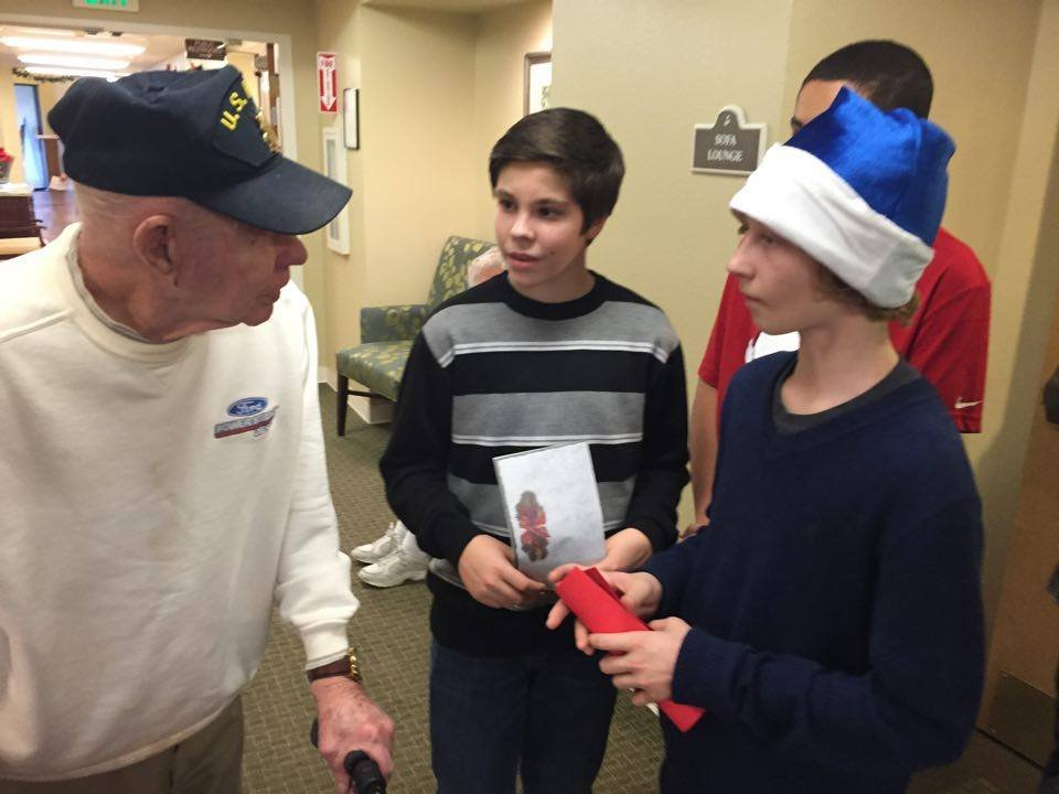 Richland middle school students deliver cards to seniors at Brookdale