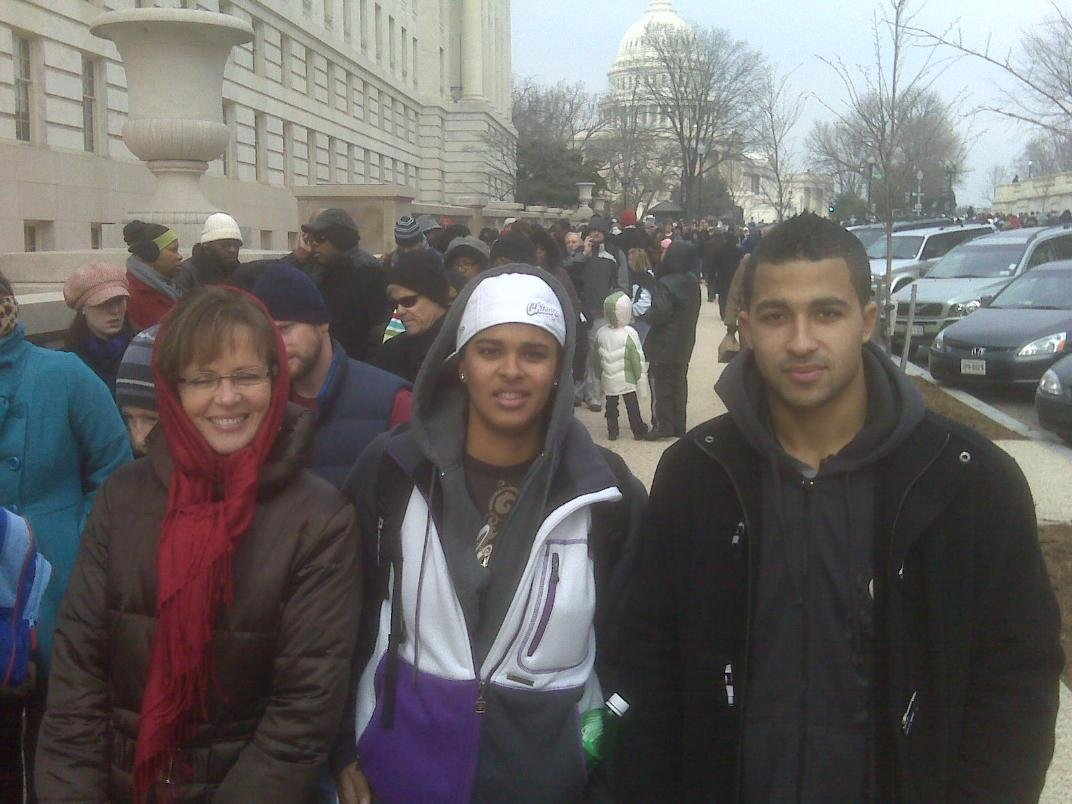 Wayne Martin and family waiting in the line to get their inauguration tickets