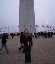 Nicole Roberts, student of Burbank High School standing in front of the Washington Monument