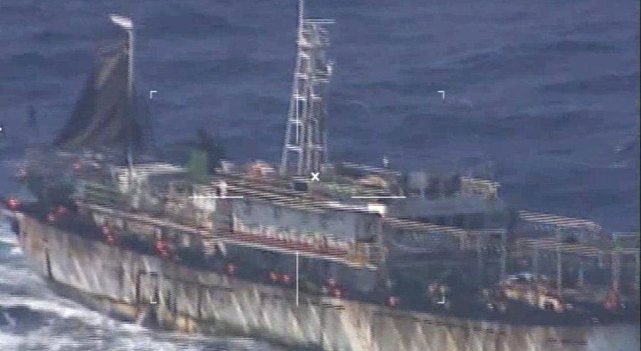 """This screen grab of a Monday, March 14, 2016 video released by Argentina's navy, or """"Prefectura Naval Argentina"""" (PNA), shows what they identify as Chinese fishing boat """"Lu Yan Yuan Yu 010"""" in Argentina's national waters off the coast of Puerto Madryn, Ar"""