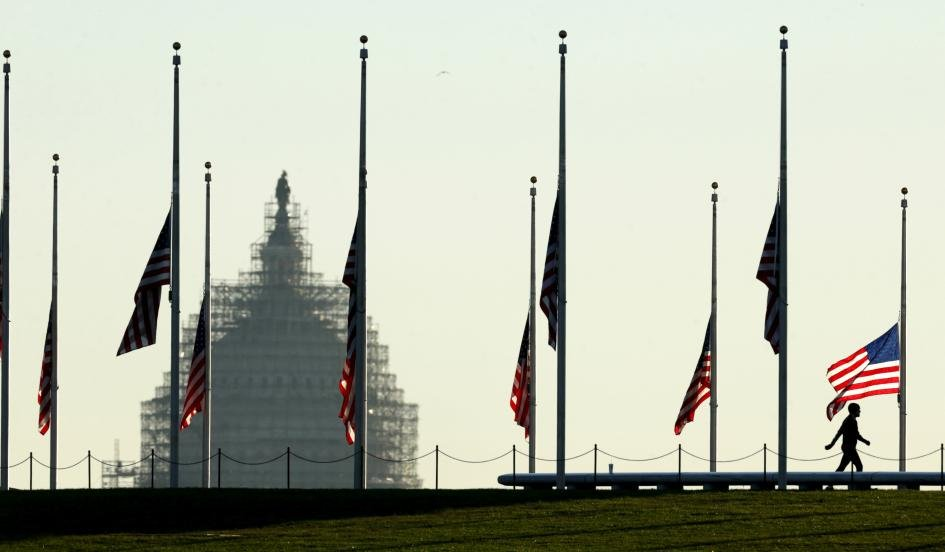 Flags flown at half staff in Washington D.C.
